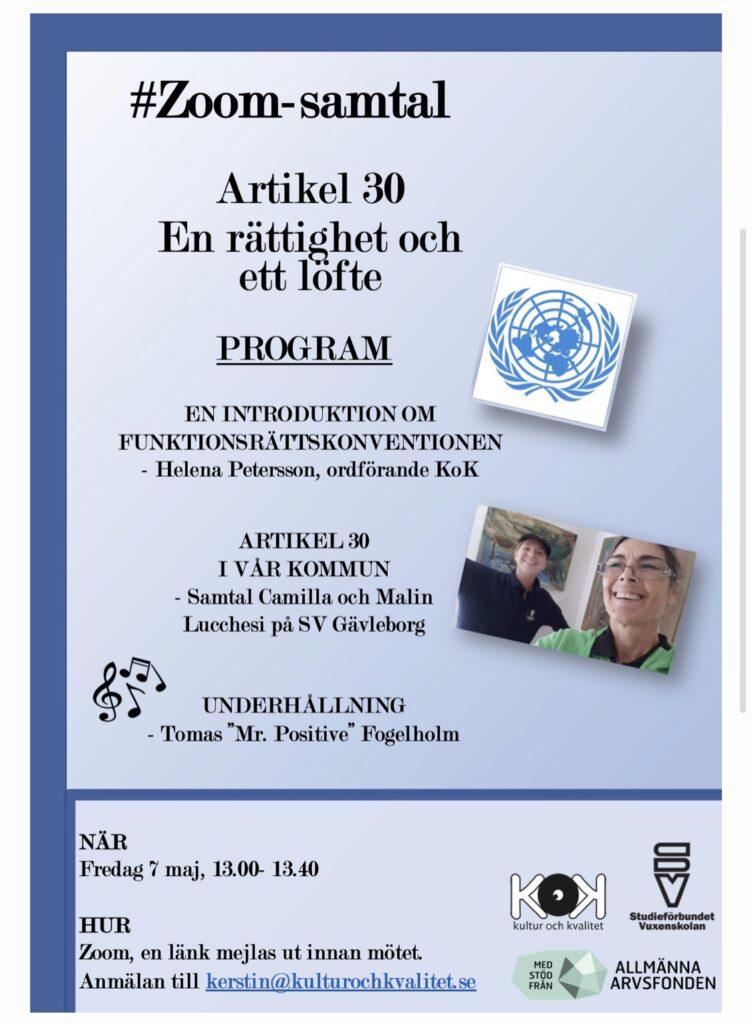 En bild på inbjudan som innehåller samma information som texten skriven. Inbjudan går i blåa färger och det finns en bild på FN-loggan. En bild på Malin och Camilla. Loggorna från KoK, Studieförbundet Vuxenskolan och Allmänna Arvsfonden är med.