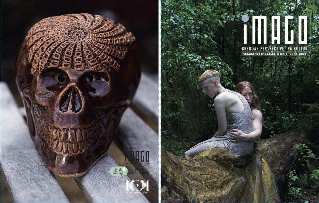 Omslaget till iMAGO 2 har en lummigt grönt skogsmiljö på framsidan. Två bleka kvinnogestalter sitter på en stor trästock. Den ena kvinnan håller om den andra kvinnan som sitter med ryggen mot. Baksidan visar en brunglaserad dödskalle i keramik.