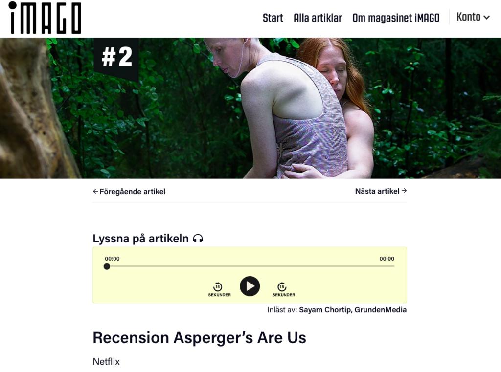 """Skärmdump från iMAGOs hemsida som visar artikeln """"Recension Aspergers are us"""". En spelare är i fokus som visar att det går att få artikeln uppläst."""